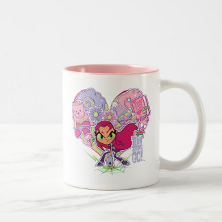 Teen Titans Go! | Starfire's Heart Punch Graphic Two-Tone Coffee Mug
