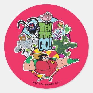 Teen Titans Go! | Team Group Graphic Classic Round Sticker