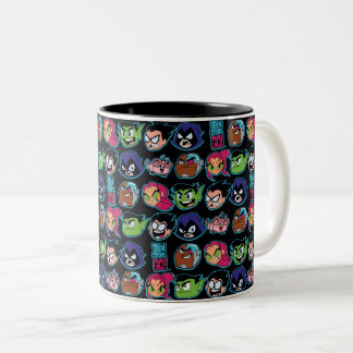 Teen Titans Go! | Titans Head Pattern Two-Tone Coffee Mug