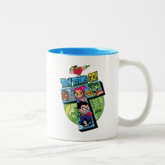 Teen Titans Go! | Titans Tower Collage Two-Tone Coffee Mug