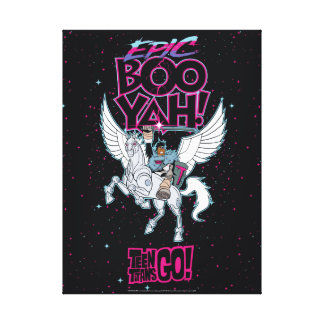 Teen Titans Go! | Warrior Cyborg Riding Pegasus Canvas Print