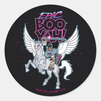 Teen Titans Go! | Warrior Cyborg Riding Pegasus Classic Round Sticker