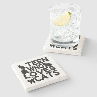 Teen Who Loves Cats Stone Beverage Coaster