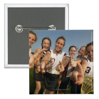 Teenage (16-17) lacrosse team signalling number 15 cm square badge