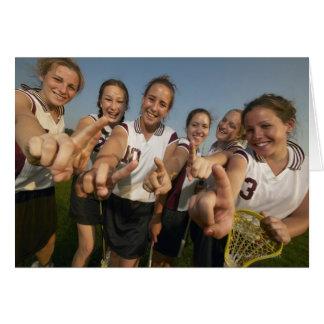 Teenage (16-17) lacrosse team signalling number greeting card