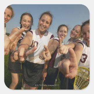 Teenage (16-17) lacrosse team signalling number square sticker