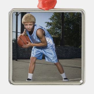 Teenage boy on basketball court 2 Silver-Colored square decoration