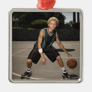 Teenage boy on basketball court Silver-Colored square decoration