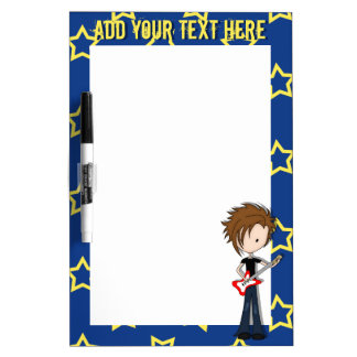 Teenage Emo Boy Rock Guitarist with Brown Hair Dry Erase Board