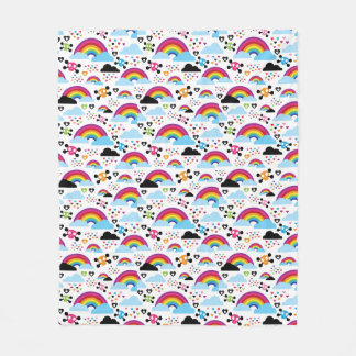 Teenage emo rainbow skull background fleece blanket