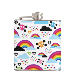 Teenage emo rainbow skull background hip flask
