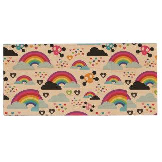 Teenage emo rainbow skull background wood USB 2.0 flash drive