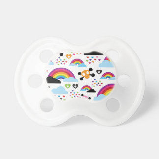 Teenage emo rainbow skull background pacifier
