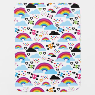 Teenage emo rainbow skull background swaddle blanket