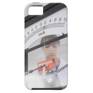 Teenage girl by science equipment tough iPhone 5 case