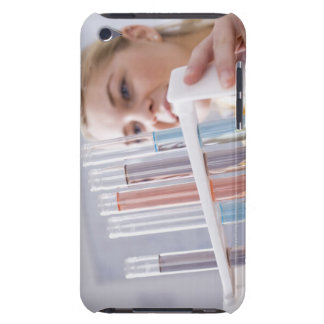 Teenage girl holding rack of test tubes Case-Mate iPod touch case
