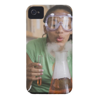 Teenage girl performing science experiment iPhone 4 Case-Mate cases
