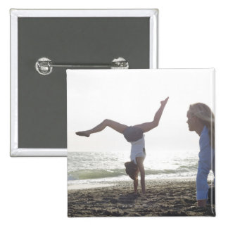 Teenage girl performs gymnastic feat, mom 15 cm square badge