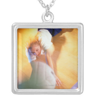 Teenage Girl Playing Volleyball Silver Plated Necklace