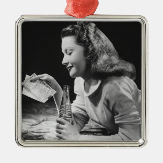Teenage Girl Silver-Colored Square Decoration