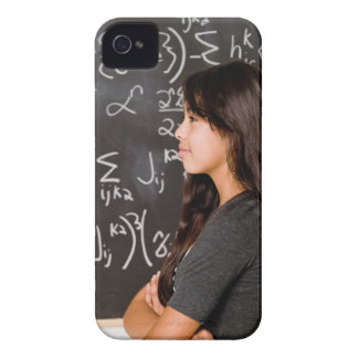 Teenage girl student at blackboard with math iPhone 4 cases