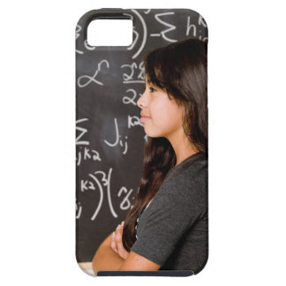 Teenage girl student at blackboard with math iPhone 5 case