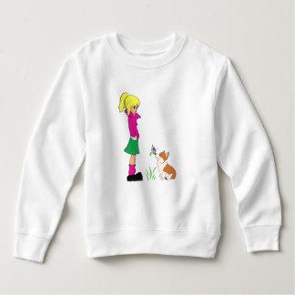 Teenage Girl with Welsh Corgi Cartoon Sweatshirt