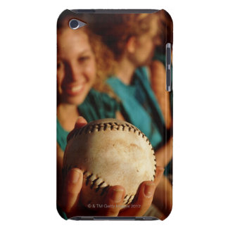 Teenage girls' softball team sitting in dugout barely there iPod cover