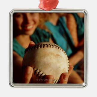Teenage girls' softball team sitting in dugout christmas ornament