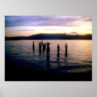 Teenage Swim at Sunset Poster