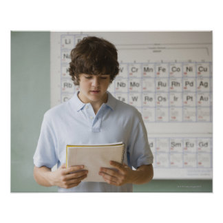Teenaged boy giving speech in science class print