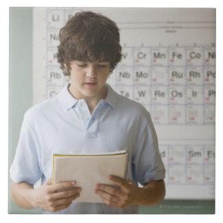 Teenaged boy giving speech in science class tile