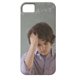 Teenaged boy in front of blackboard with math iPhone 5 cases
