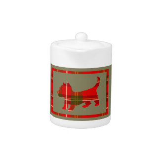 Teeny Tartan Puppy on a Teapot