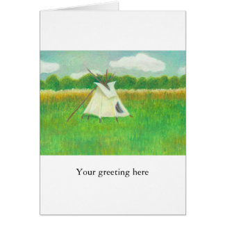 Teepee central Minnesota landscape drawing tipi Greeting Card
