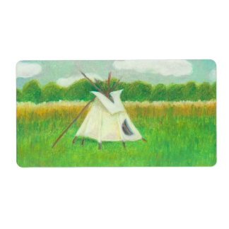 Teepee central Minnesota landscape drawing tipi Shipping Label