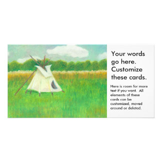 Teepee central Minnesota landscape drawing tipi Personalised Photo Card