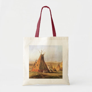 Teepees on Plain by Bodmer, Vintage American West Tote Bags