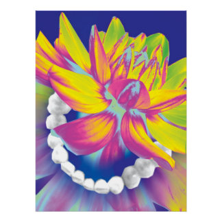 Teeth & Flower Dentist Orthodontist Poster