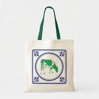 Tegeltje, Dutch tile with Frisian cow Canvas Bags