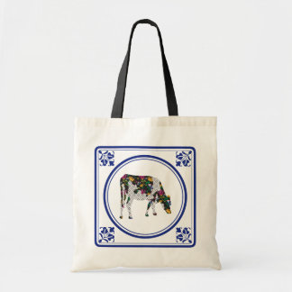 Tegeltje, Dutch tile with Frisian cow Tote Bags