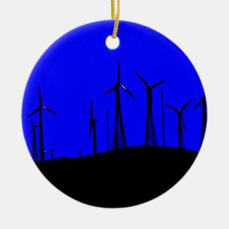 Tehacapi Wind Farm Silhouette (1) Round Ceramic Decoration
