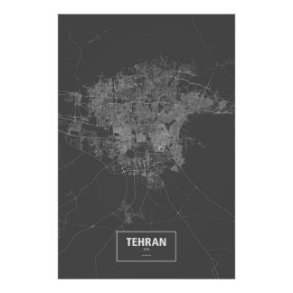 Tehran, Iran (white on black) Poster