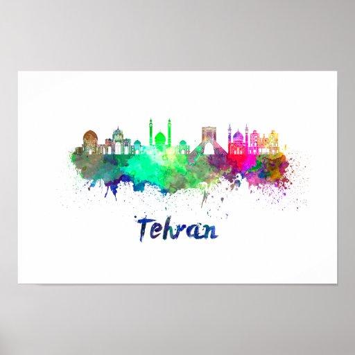 Tehran skyline in watercolor poster