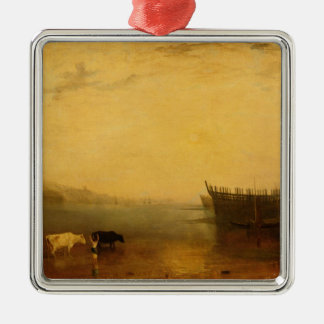 Teignmouth Harbour, c.1812 Silver-Colored Square Decoration