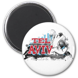 TEL AVIV - A grunge style of Israel's #1 City 6 Cm Round Magnet