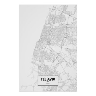 Tel Aviv, Israel (black on white) Poster
