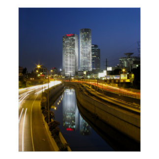 Tel Aviv Towers Night Photo Poster