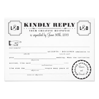 Telegram Mad Libs Response Card Black and White
