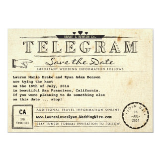 Telegram Vintage Travel Hearts Save the Date 13 Cm X 18 Cm Invitation Card